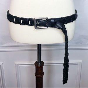 Black Leather Belt Men's Size 38 Silver Buckle